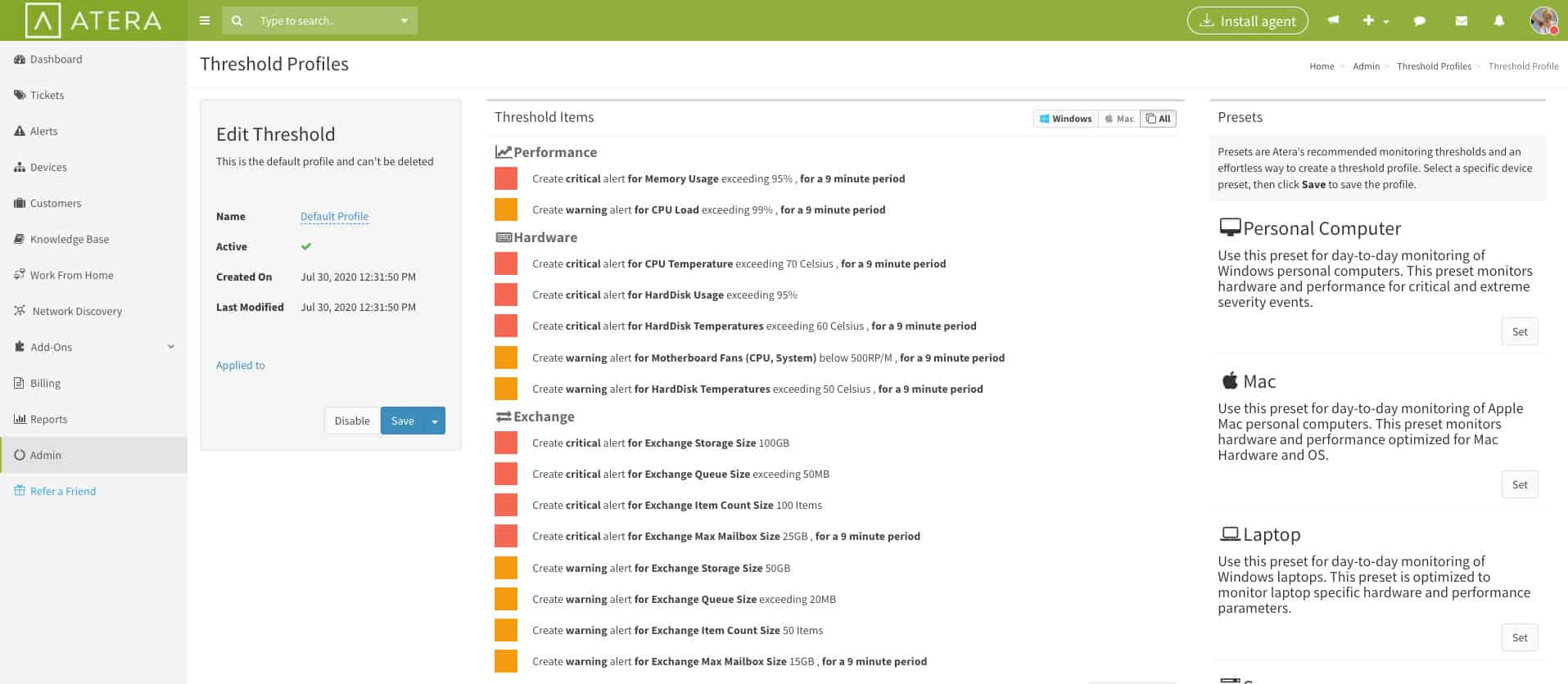 Atera Real-time Monitoring and Alerting Tool