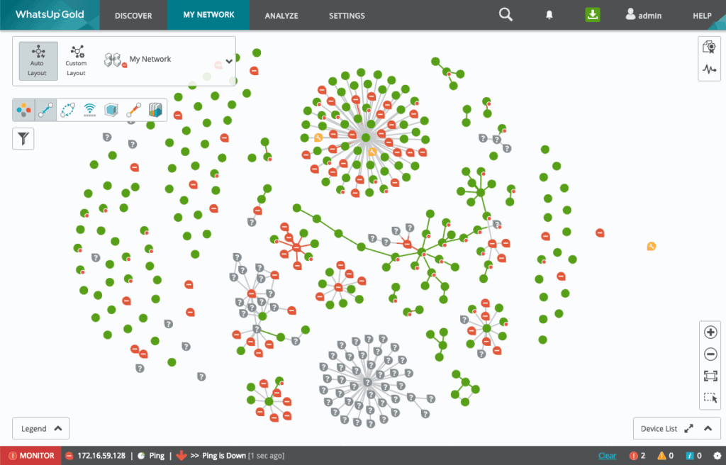 WhatsUp Gold Live network topology map