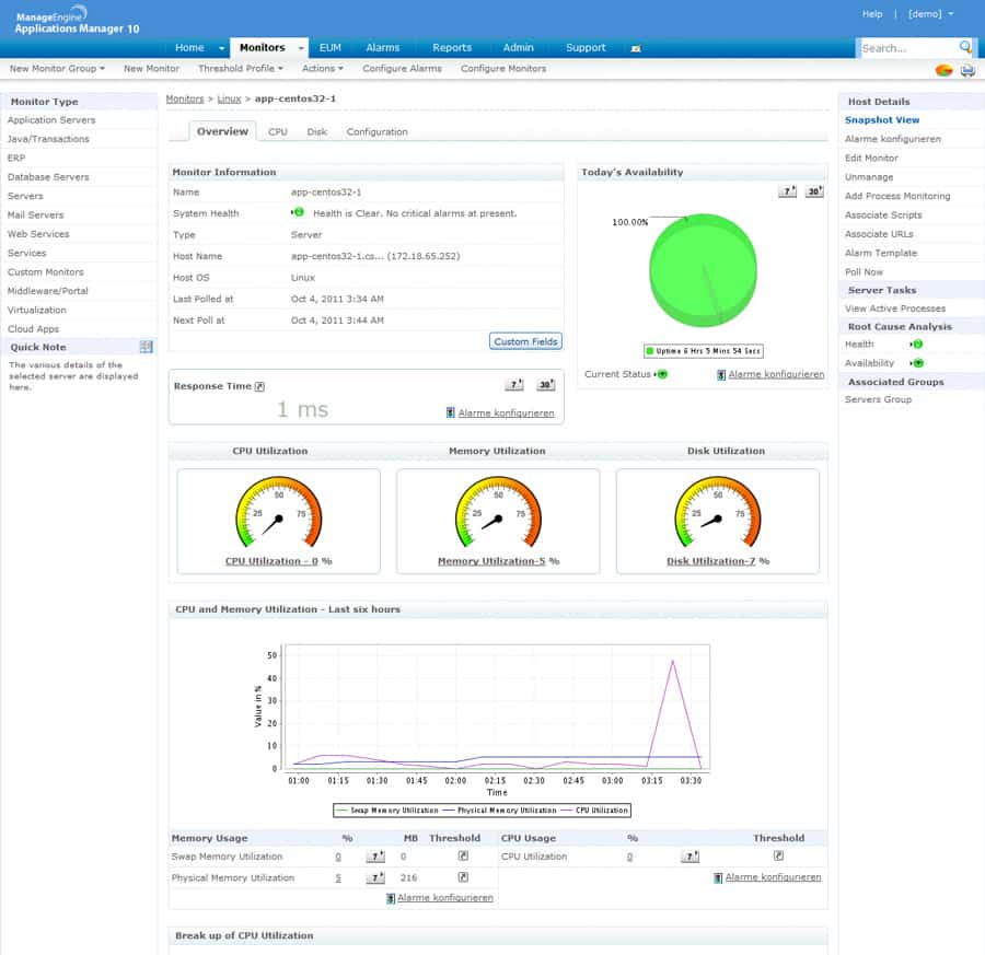 manageengine systems management console