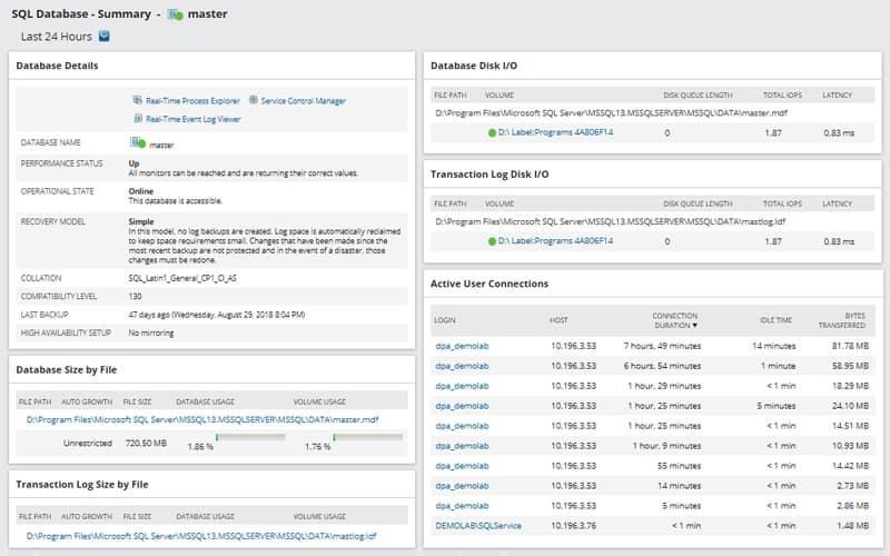 sql database management screen