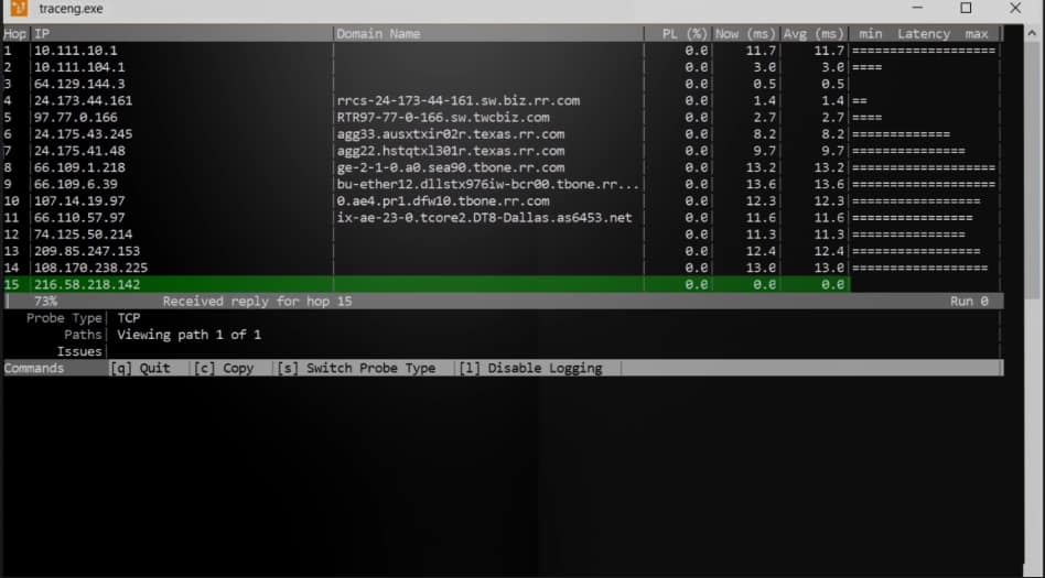 traceroute ng in action