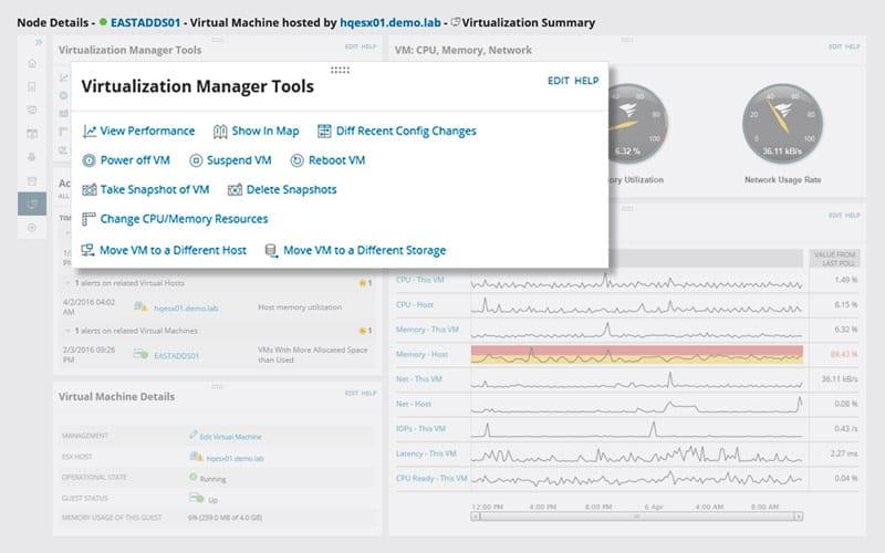 vm system management screen 2
