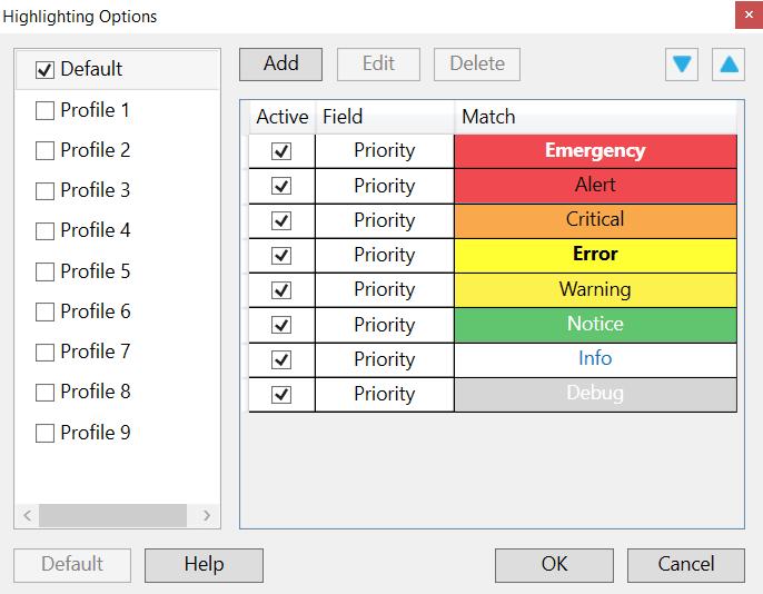 whatsup Highlighting Options