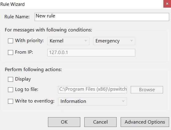 whatsup Rules and Alerts basic Menu Options