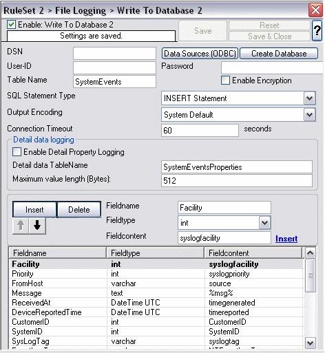 WinSyslog Database Logging Options